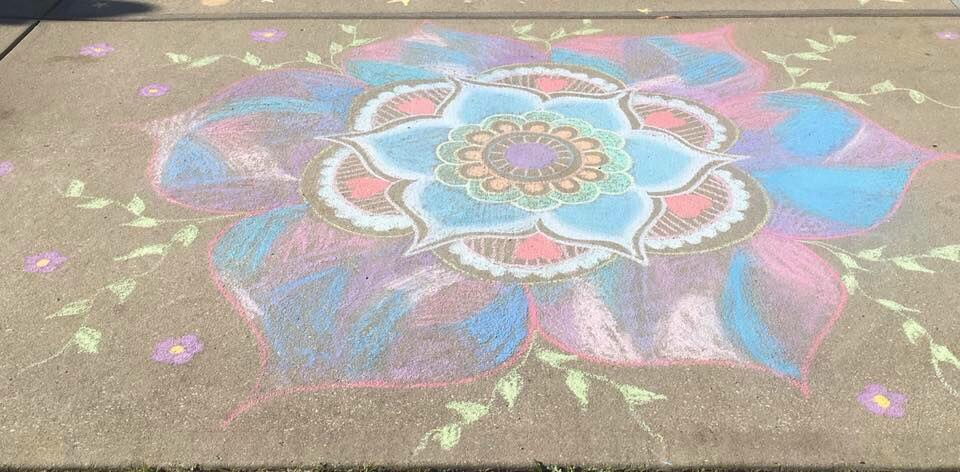 Flower Power! Residents of The Peninsula voted this beautiful flower by Marcey Taylor as their favorite sidewalk decoration.