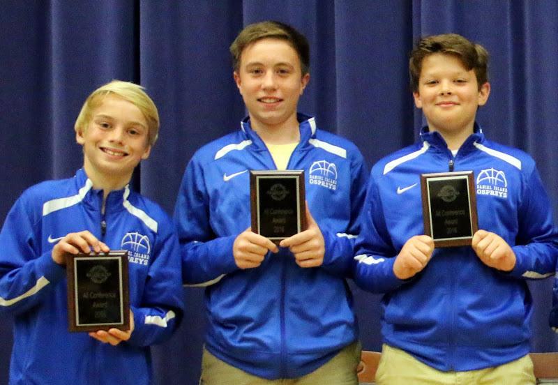 Sixth grade All-Conference Award Winners: Ben Dreyer, Tee Skipper, Carson Arnold.