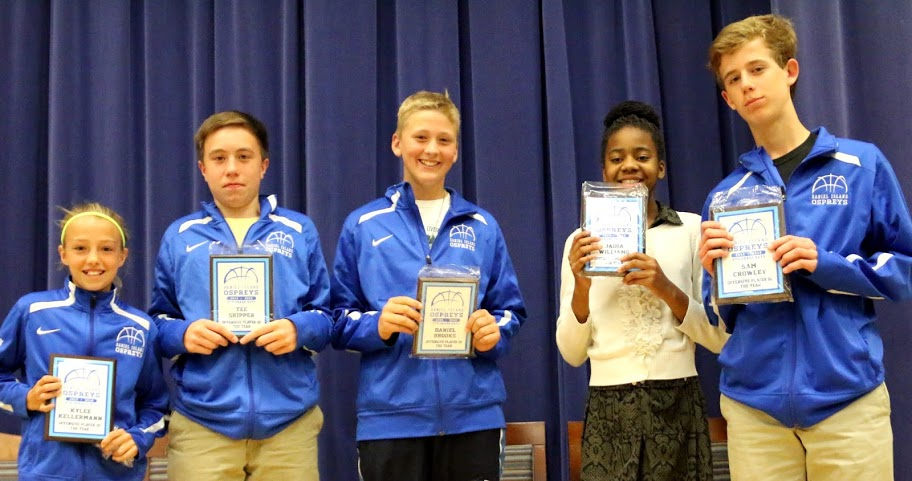 Most Improved Player of the Year: 6th grade girls team – Payson Noding; 6th grade boys team – Brady Comer; 7th grade boys team – Sammy Gress; 8th grade girls team – Victoria Roe; 8th grade boys team – Jamal Wiliams (not pictured).