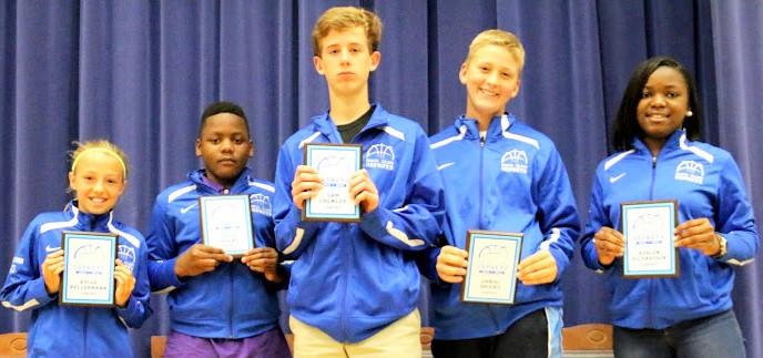Team MVPs: 6th grade girls - Kylee Kellermann; 6th grade boys – Jaque Greene; 8th grade boys – Sam Crowley; 7th grade boys – Daniel Brookes; 8th grade girls – Ashlen Richardson.