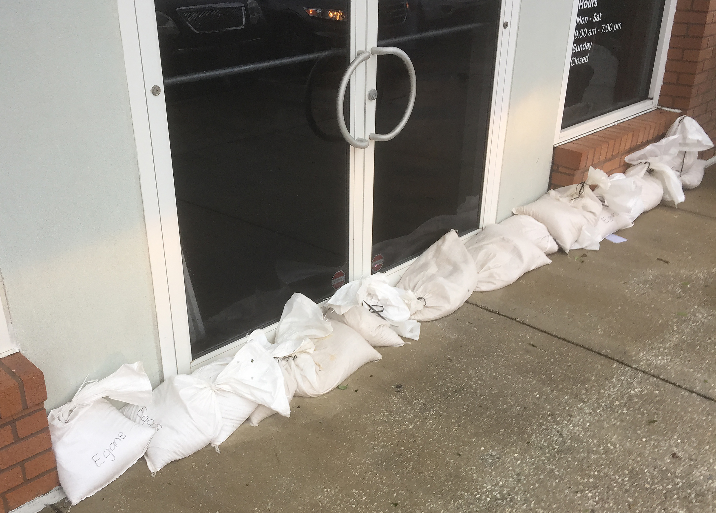 Peter Finger:  Some businesses placed sandbags at their storefronts to keep water out.