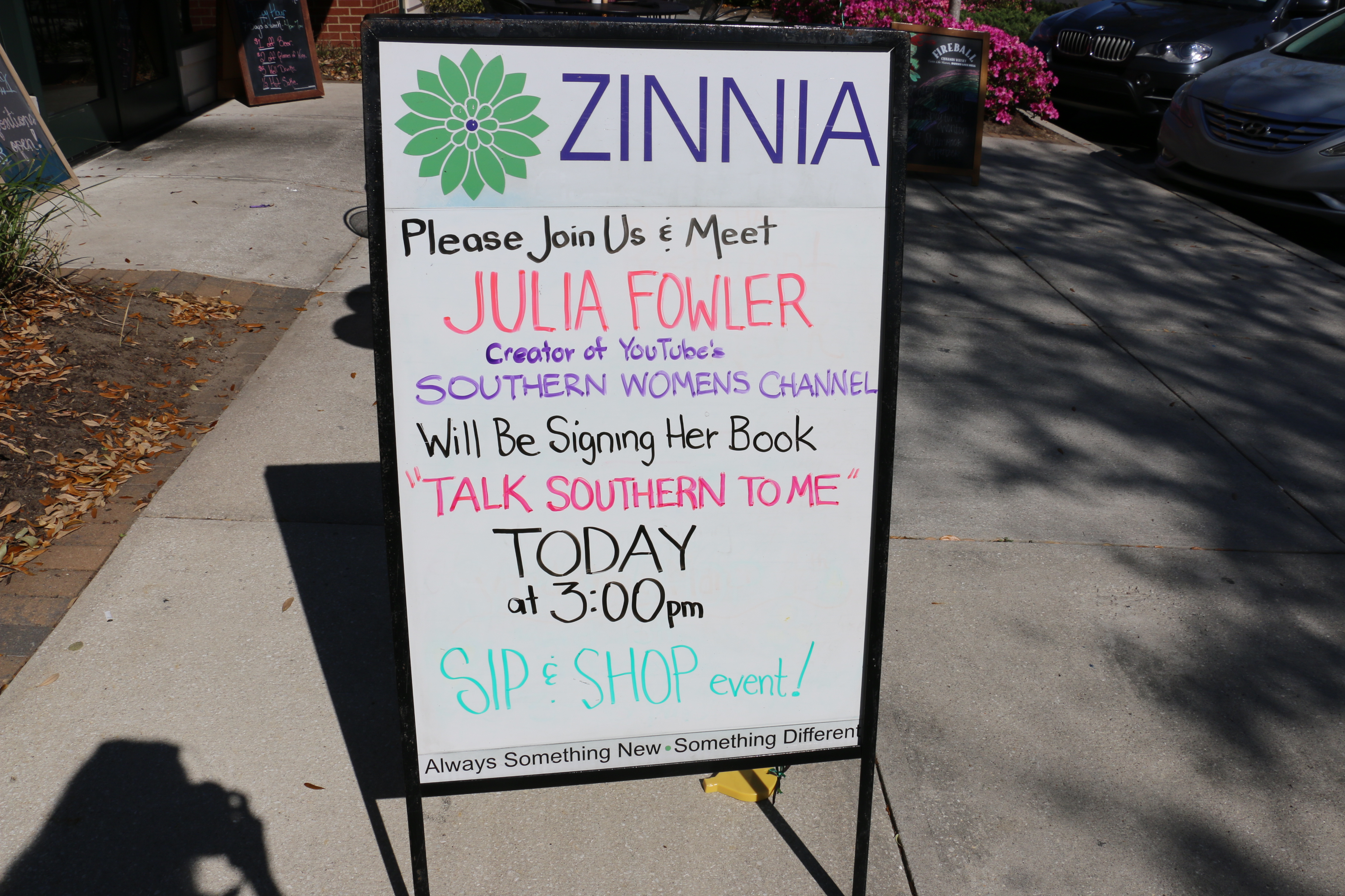 "On March 15 at Belle Hall Shopping Center's ""Sip and Shop,"" Zinnia hosted Julia Fowler, author of Talk Southern Too Me and a SC YouTube star."