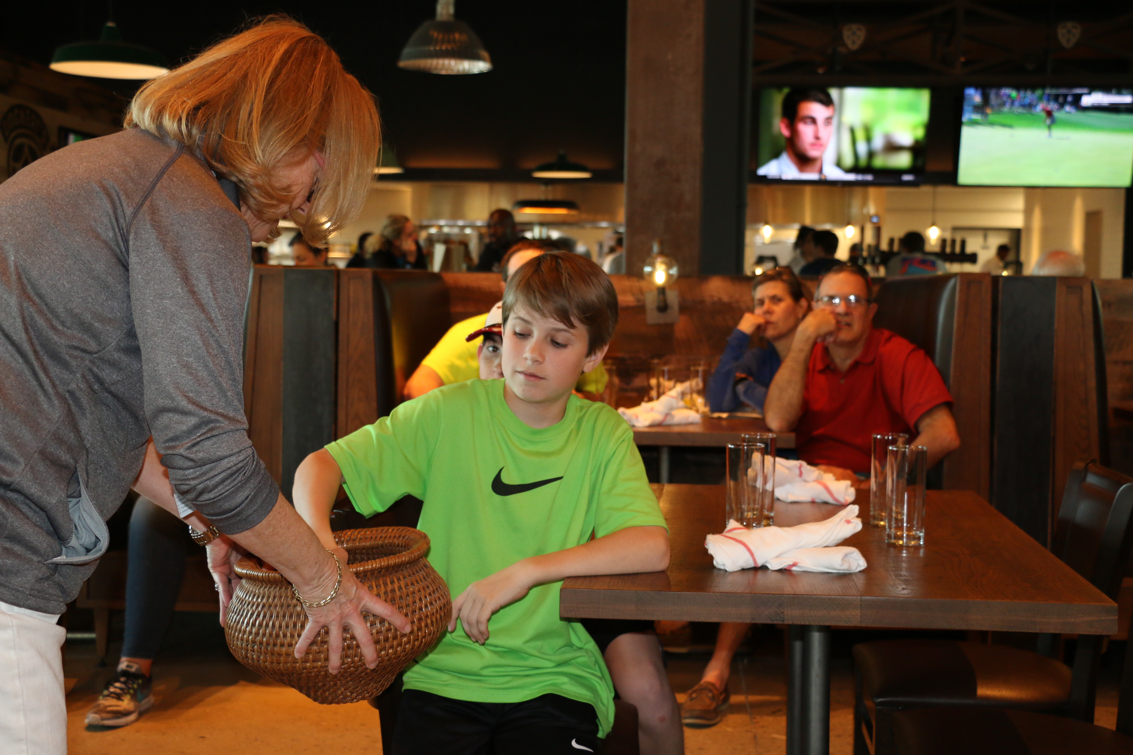 Will Ramey of Daniel Island drew a chip during the Draw Party at Dockery's on Saturday.