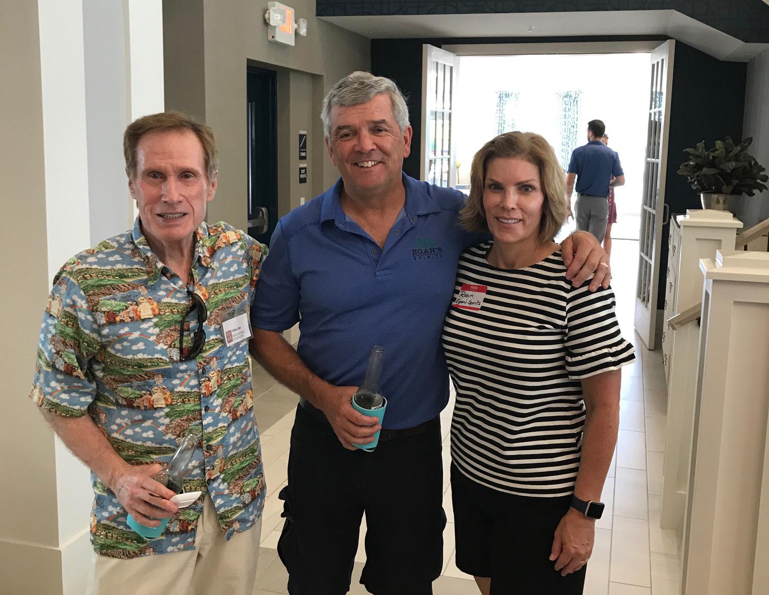 Educational Avenue's Chip Law and DIBA sponsors John Egan and Robin Rodriguez of Egan's Spirits.