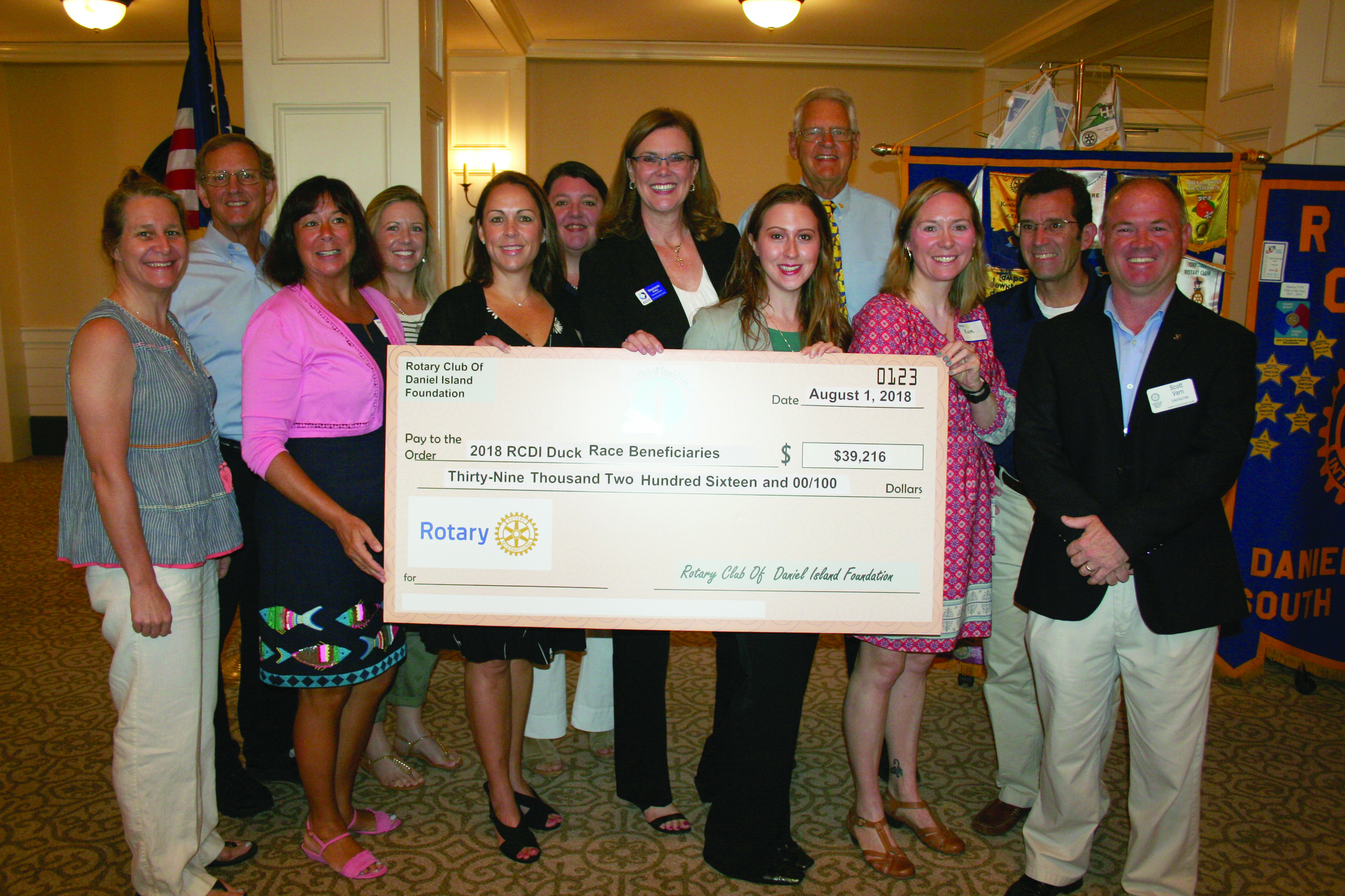 Pictured above are (left to right): Suzanne Detar, Daniel Island News (sponsor); Rick Mosteller, Spiritline Cruises (sponsor); Joannah Sampson, Cainhoy Elementary School (beneficiary); Betsy Brabham, Dockery's (sponsor); Kathleen Forbes, East Cooper Meals on Wheels (beneficiary); Jane Baker, Daniel Island Property Owners Association (sponsor); Stephanie Kelly, East Cooper Community Outreach (beneficiary); Jennifer Wilson, Camp Happy Days (beneficiary); Rotarian George Jucha, Duck Race chair; Kate Buckholz, Carolina Youth Center Development Center (beneficiary); Rob Fowler, WCBD-News2 (sponsor); and Scott Varn, president, Rotary Club of Daniel Island.