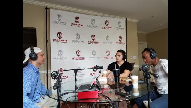"""Daniel Island resident Kyle Taylor (left) interviews Kyle Sheldon (middle) and Jonathan Gatlin (right) for his podcast """"Generation Giants."""""""