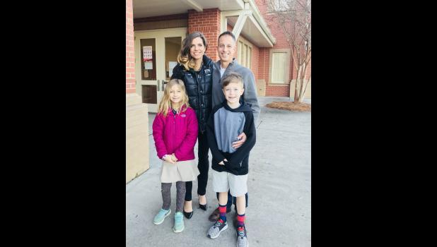 Daniel Island resident Nancy Mace, the winner of Tuesday's special election for the open seat representing S.C. House District 99, poses on election day with her family outside the Daniel Island School polling location. Mace is set to be sworn into her new post on Jan. 23 and will be the first woman to hold the seat.