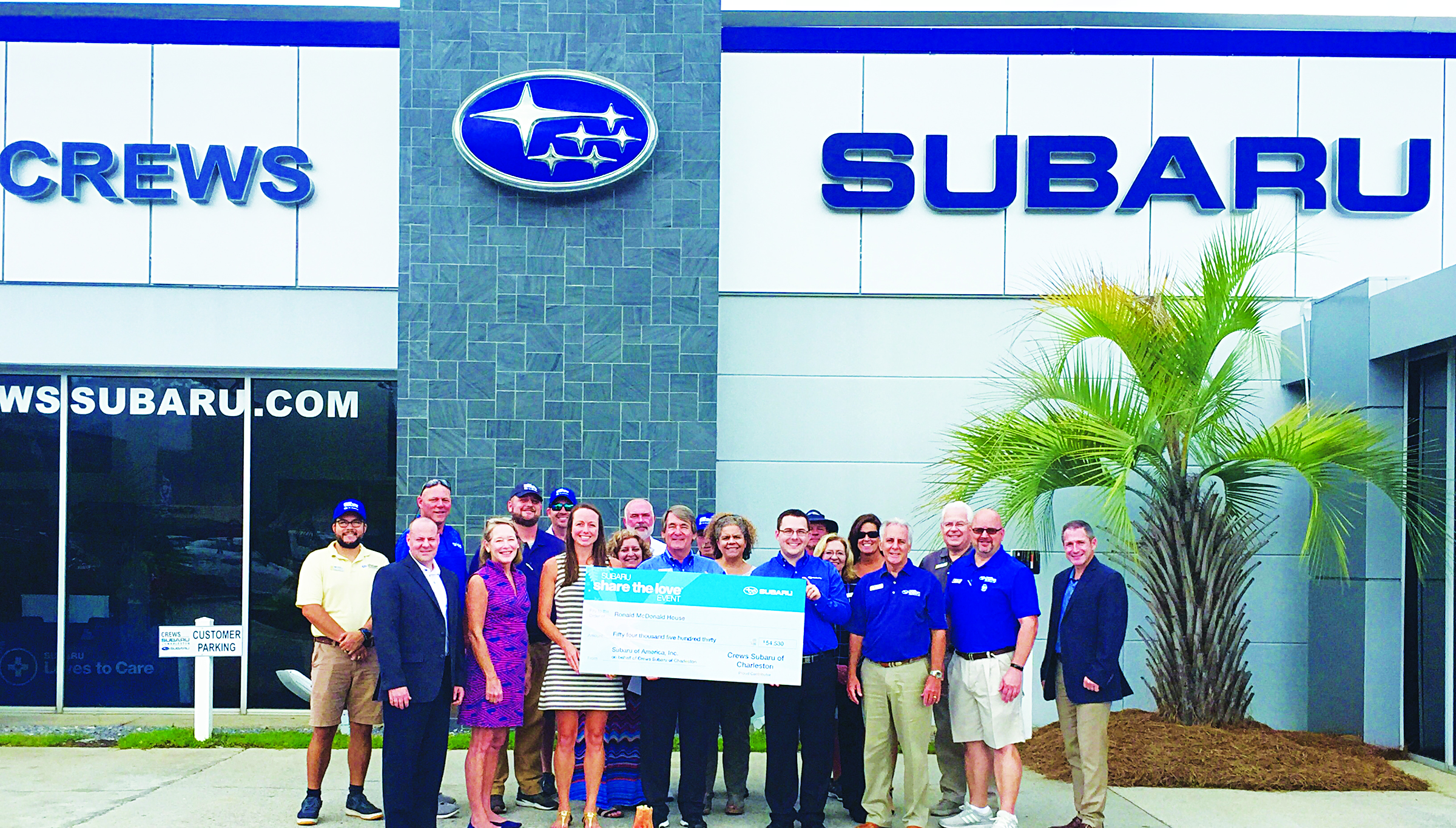 "Crews Subaru of Charleston continues to fulfill the Subaru Love Promise with their recent presentation of a check for $54,380 to Ronald McDonald House Charities of Charleston. The funds were generated during the Subaru Share the Love event. The effort is ""just part of the local commitment Crews Subaru has made to the Lowcountry,"" stated a press release. Shown are members of the Crews Subaru team, surrounding RMHC staff, Subaru zone staff and Robert Crews, president, and HR Hicks, general manager of locally-owned Crews Subaru."